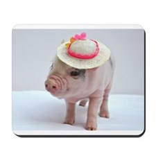Micro pig wearing Summer hat Mousepad