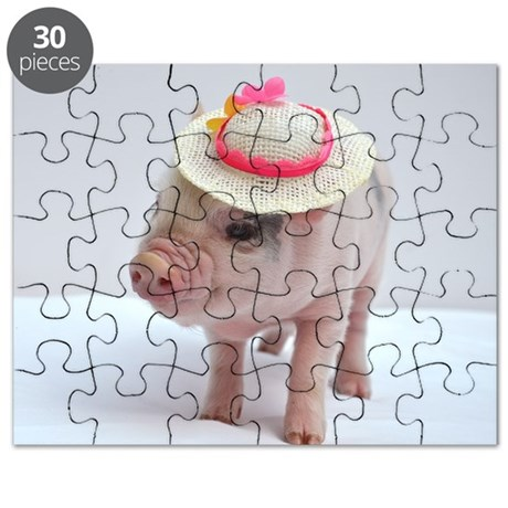 Micro pig wearing Summer hat Puzzle