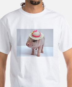 Micro pig wearing Summer hat T-Shirt