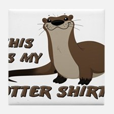 This Is My Otter Shirt Funny Tile Coaster