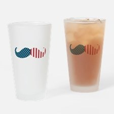 Patriotic Mustache Drinking Glass