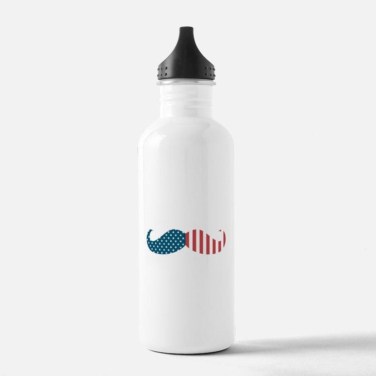 Patriotic Mustache Water Bottle