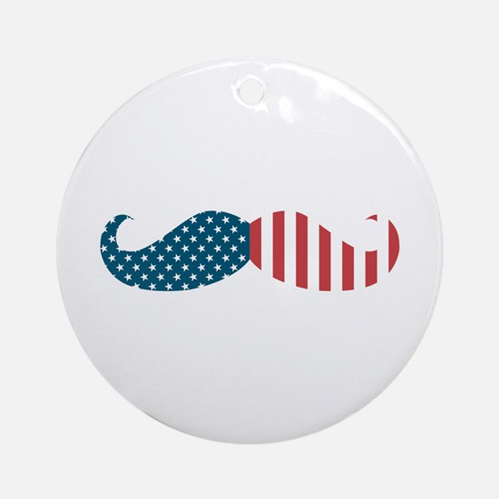 Patriotic Mustache Ornament (Round)