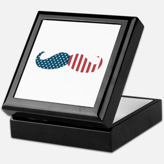 Patriotic Mustache Keepsake Box