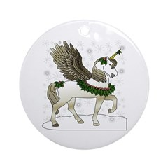 Holly Pegacorn! Winter Ornament (Round)