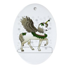 Holly Pegacorn! Winter Oval Ornament