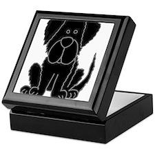 Black Newfoundland Dog Cartoon Keepsake Box