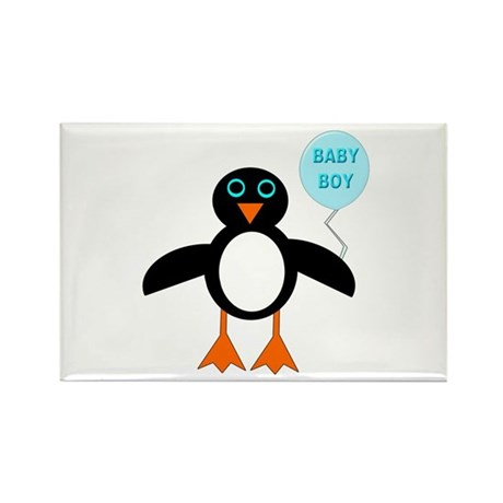 Cute New Baby Boy Penguin Rectangle Magnet (100 pa