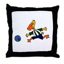 Funny Duck Bowling Throw Pillow