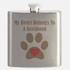My Heart Belongs To A Keeshond Flask