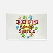 Crocheting Sparkles Rectangle Magnet