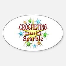 Crocheting Sparkles Sticker (Oval)