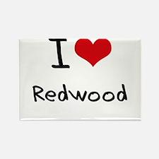 I Love Redwood Rectangle Magnet