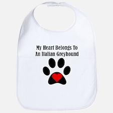 My Heart Belongs To An Italian Greyhound Bib