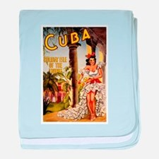 Vintage Cuba Tropics Travel baby blanket