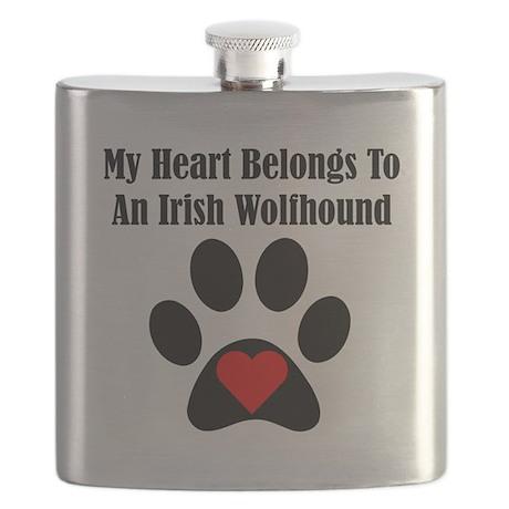 My Heart Belongs To An Irish Wolfhound Flask