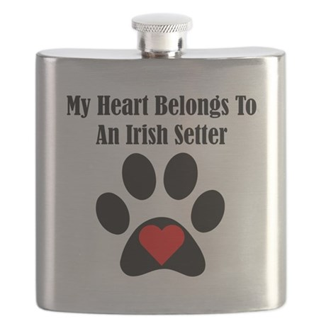 My Heart Belongs To An Irish Setter Flask