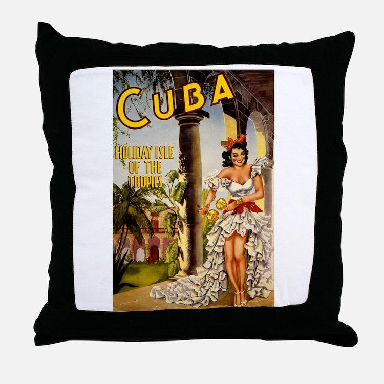 Vintage Cuba Tropics Travel Throw Pillow