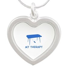 Keyboard my therapy Silver Heart Necklace