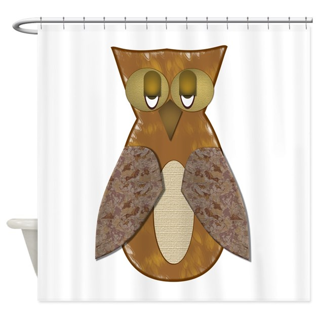 Brown textured owl shower curtain by flamingraphicdesigns