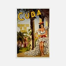 Vintage Cuba Tropics Travel Rectangle Magnet