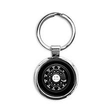 Rotary Faux -bw Round Keychain