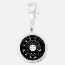 Rotary Faux -bw Silver Round Charm