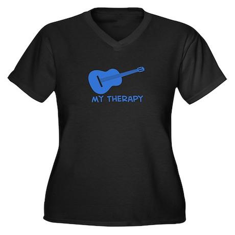 Ukelele my therapy Women's Plus Size V-Neck Dark T
