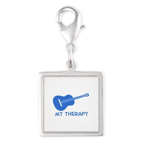 Ukelele my therapy Silver Square Charm