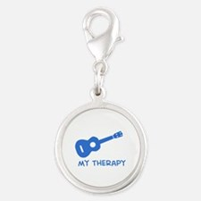Ukelele my therapy Silver Round Charm