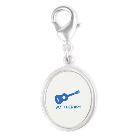 Ukelele my therapy Silver Oval Charm
