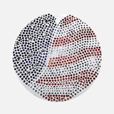Jeweled American Heart Ornament (Round)