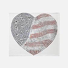 Jeweled American Heart Throw Blanket