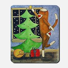 Christmas Sock Monkey Mousepad