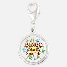 Bingo Sparkles Silver Round Charm