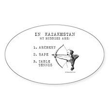 Kazakhstan Hobbies Oval Decal