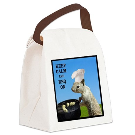 Keep Calm and BBQ On Squirrel Canvas Lunch Bag