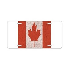 Claystone Canadian Flag Aluminum License Plate