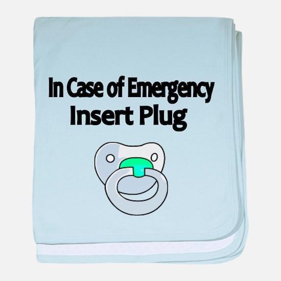 In Case of Emergency insert Plug baby blanket