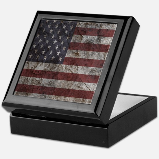 Cave Wall American Flag Keepsake Box
