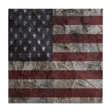 Cave Wall American Flag Tile Coaster