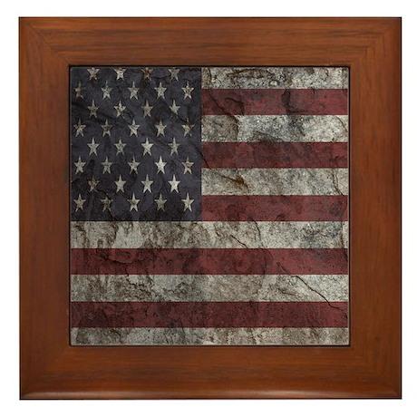 Cave Wall American Flag Framed Tile