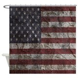 Cave wall american flag Shower Curtains