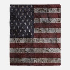 Cave Wall American Flag Throw Blanket