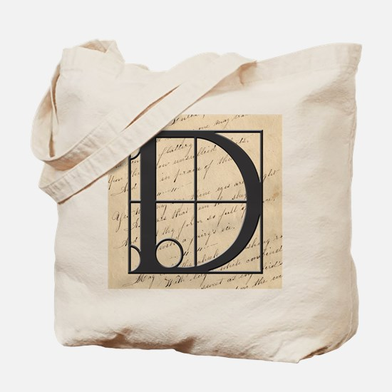 OLD and NEW Together Monogram Letter D Tote Bag