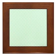 Mint and White Chevron Framed Tile