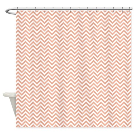 Peach And White Chevron Shower Curtain By Be Inspired By Life