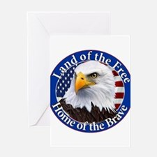 Land Of The Free Home Of The Brave Eagle Greeting