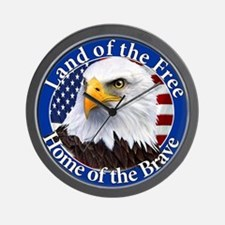 Land Of The Free Home Of The Brave Eagle Wall Cloc