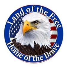 Land Of The Free Home Of The Brave Eagle Round Car